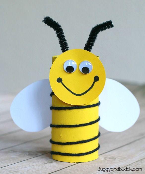 Cardboard Tube Bee Craft for Kids Using Yarn - Buggy and Buddy