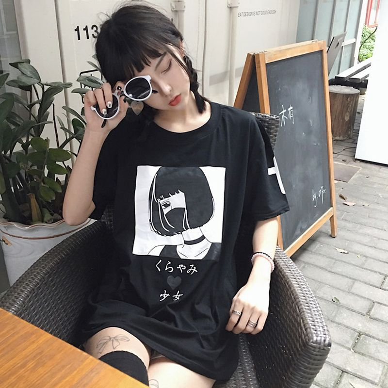 Anime Punk T Shirt With Masked Girl In Black Or White Color
