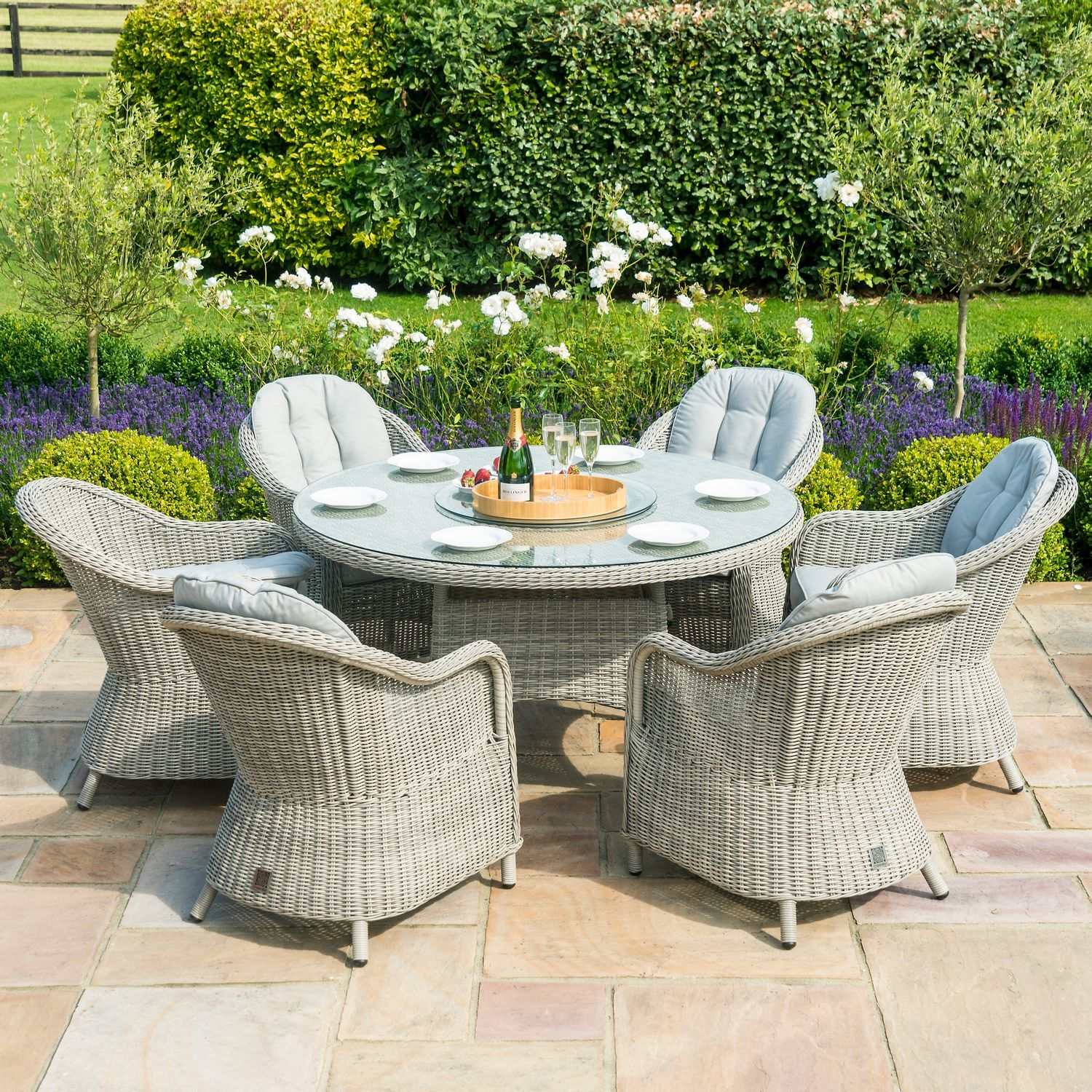 Maze Rattan Garden Furniture Oxford 6 Seat Round Dining Set With Heritage Chairs In 2020 Rattan Garden Furniture Round Dining Set Garden Dining Set