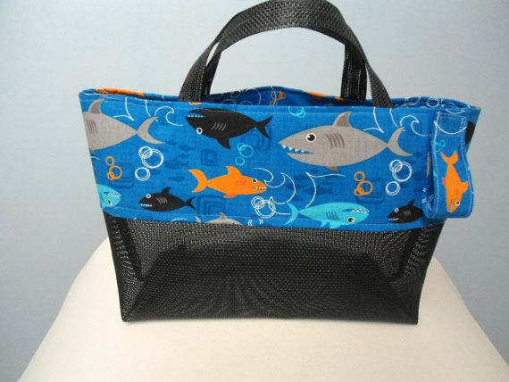 Kids Beach Tote Bag Sharks Fish Personalize with Black Mesh Modern ...