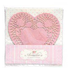 Papieren onderleggertjes (doilies) 24 stuks hart Amelie