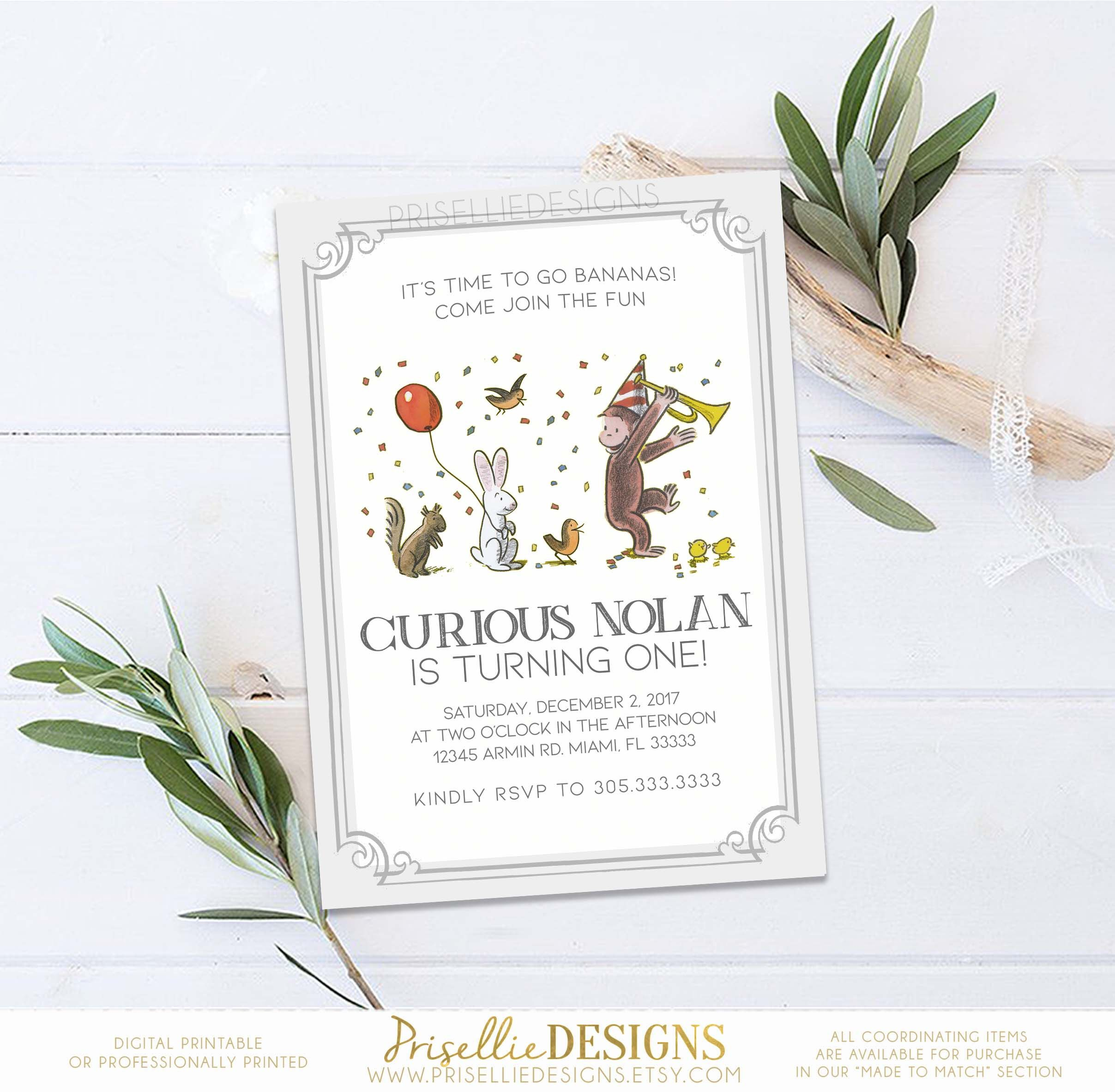 Curious George Birthday Invitation Classic Curious George