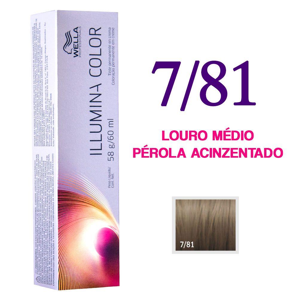 Illumina Color 7/81 Louro Médio Pérola Acinzentado Onde encontrar: Luxo e Beleza Página do produto: http://luxoebeleza.com.br/wella-illumina-color-coloracao-7-81-louro-medio-perola-acinzentado-60g.html