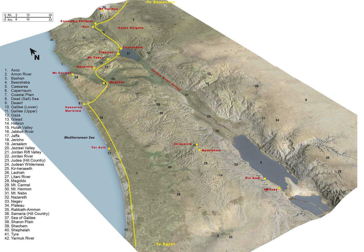 Israel Topograhpic Map Israel 1st Century Pinterest Israel