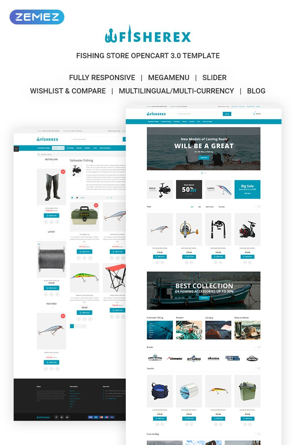 fisherex fishing store opencart template 72059 fisherex