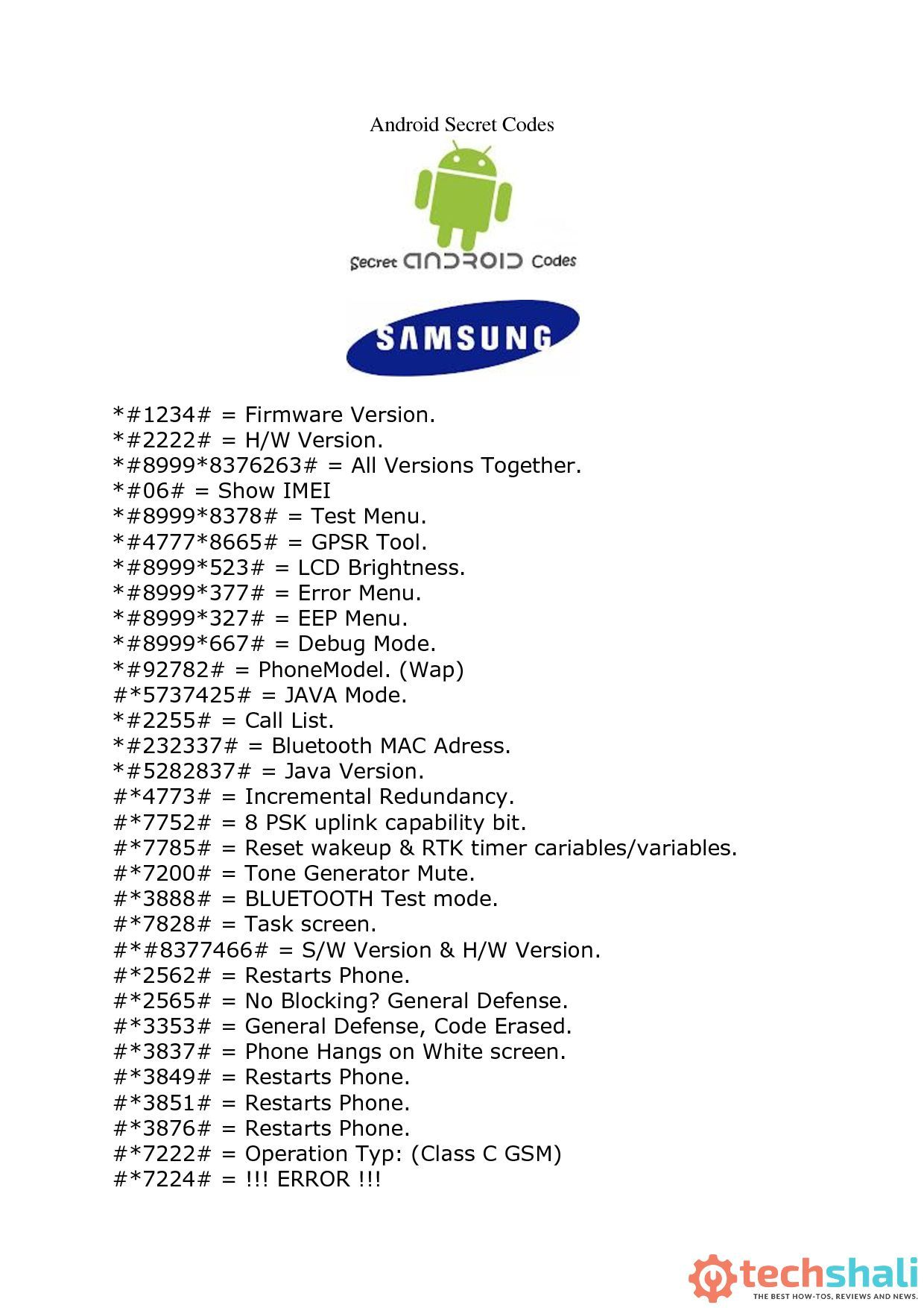 Here's list of best and must have Samsung Mobile Secrete Codes that