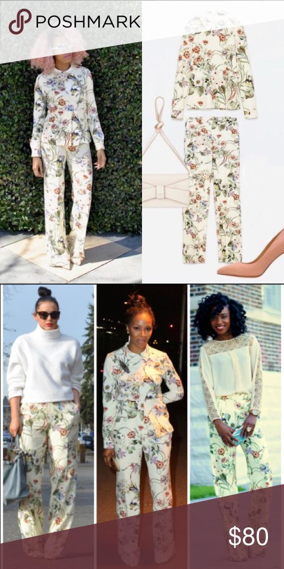 Zara Floral Print Matching Trouser Blouse Set Nwt Floral
