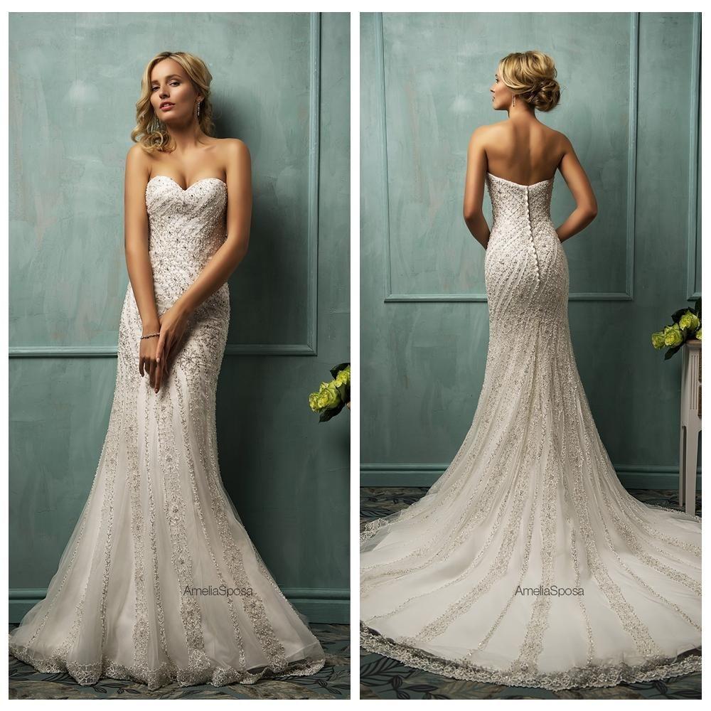 Ivory mermaid wedding dresses 2015 tulle sweetheart for Winter mermaid wedding dresses