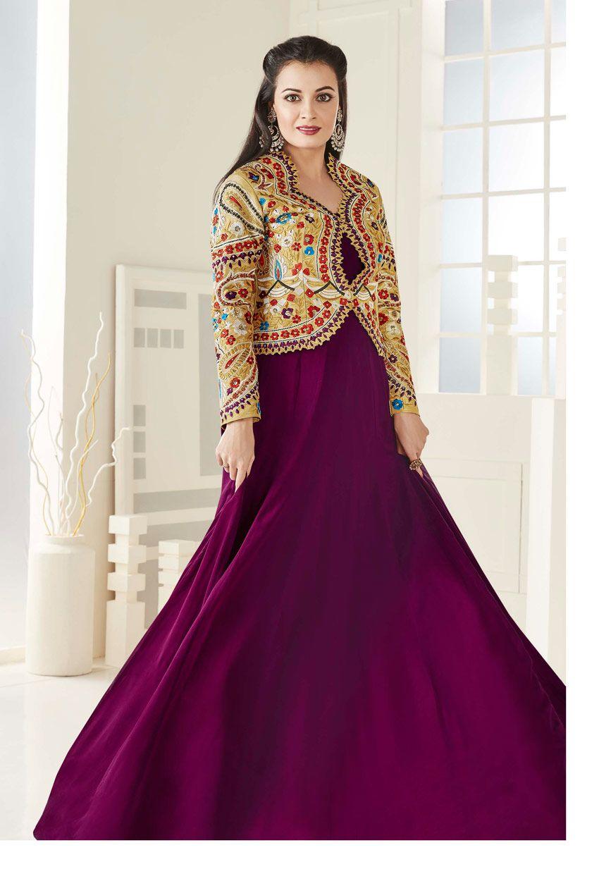 5130170fcb243 Dia Mirza In Purple Taffeta Silk Anarkali Suit in 2019 | Purple ...