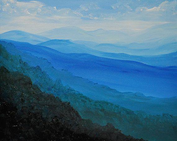Blue Ridge Mountains Original Acrylic Landscape Painting On Canvas Landscape Paintings Acrylic Canvas Painting Landscape Landscape Paintings