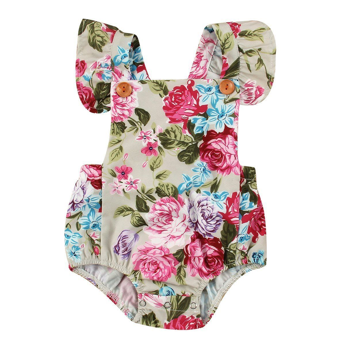 For Infant Baby Girls Sleeveless Flower Romper Bodysuit Jumpsuit Summer Clothes