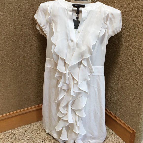 BCBGMaxAzria White Dress Gorgeous white chiffon dress with ruffles from the neckline all the way down, so chic! BCBGMaxAzria Dresses Mini