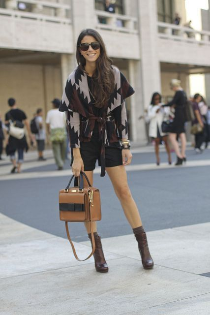 Shorts, printed cardigan, brown booties and solid handbag | Just a Pretty Style