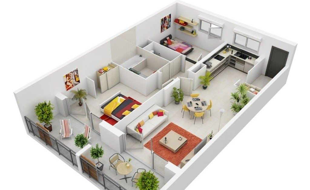 50 Two 2 Bedroom Apartment House Plans Three Bedroom Modern 2