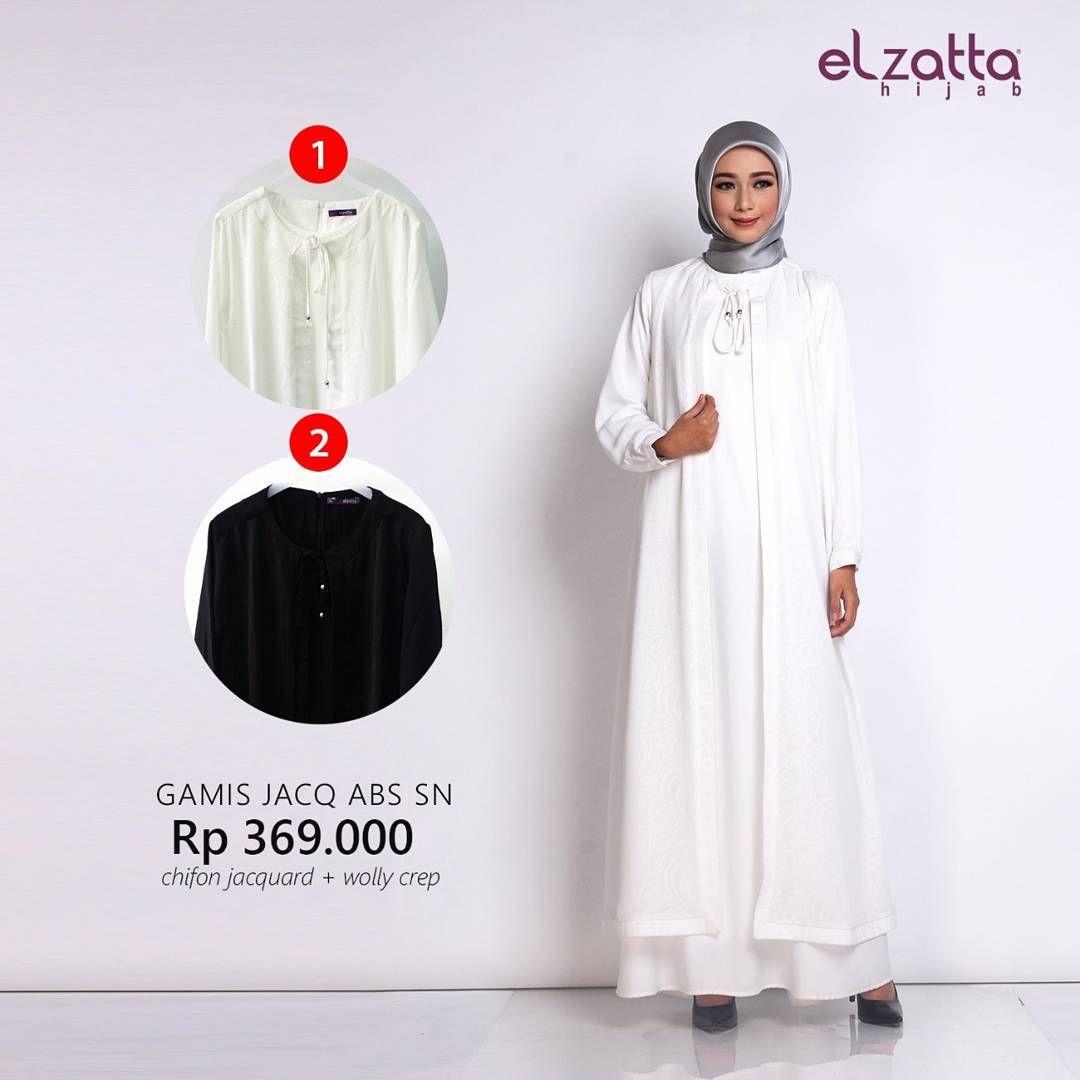 Gamis Elzatta Polos Jacq ABS SN Putih Hitam Elzatta Hijab Jual