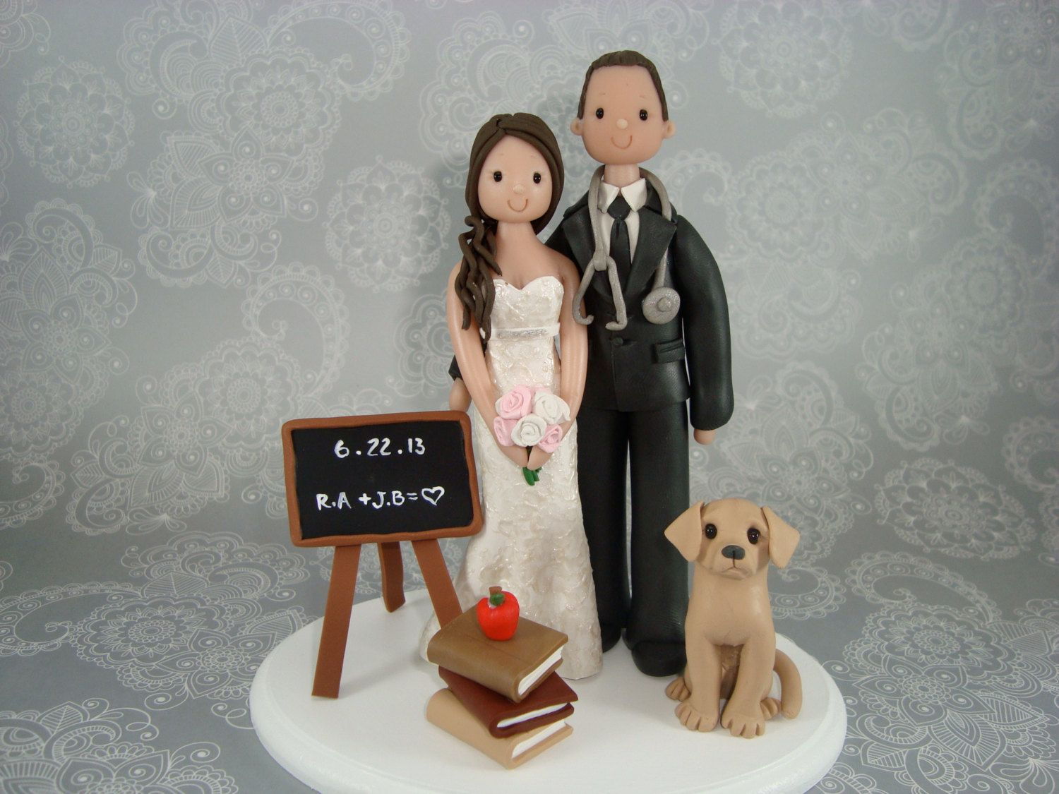 Doctor Teacher Customized Wedding Cake Topper By Mudcards 145 00