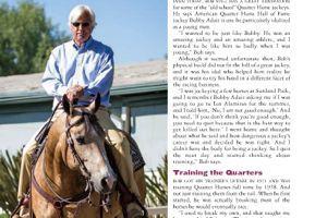 Racehorse trainer Bob Baffert and his buckskin American Quarter Horse This Whiz Shines (Credit: America's Horse magazine)