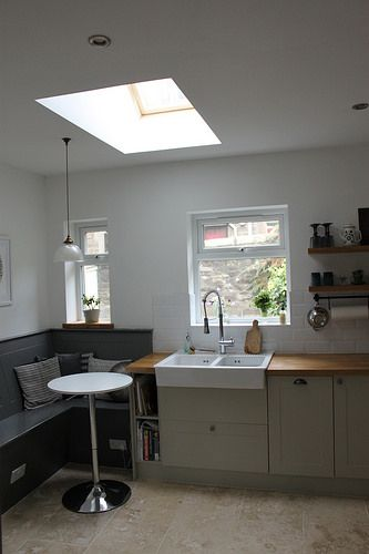 Skylight eating nook and ikea domsjo double sink with tre mecarti tap light pendant from fritz fryer