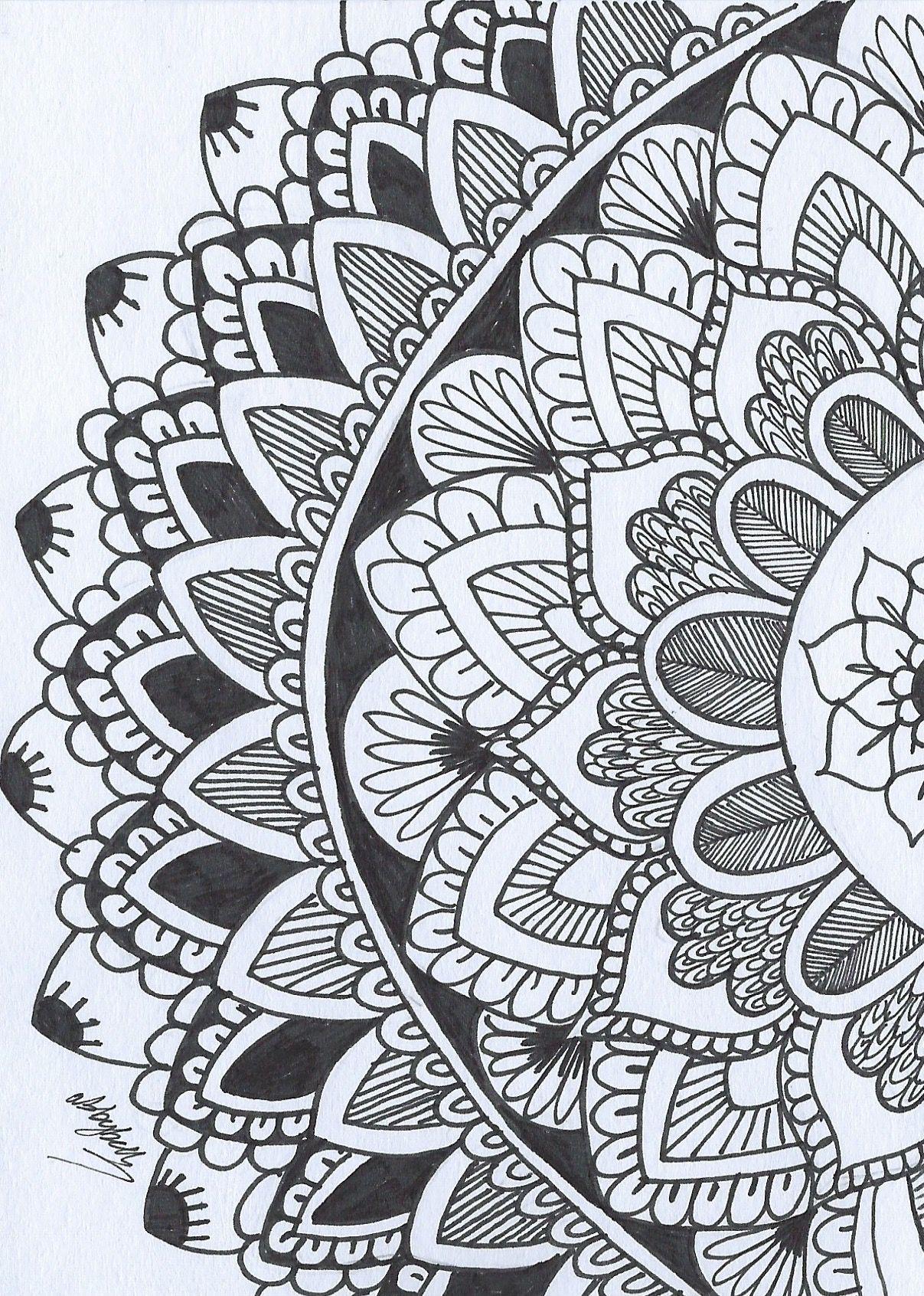 Mandala Negro Y Blanco Drawing