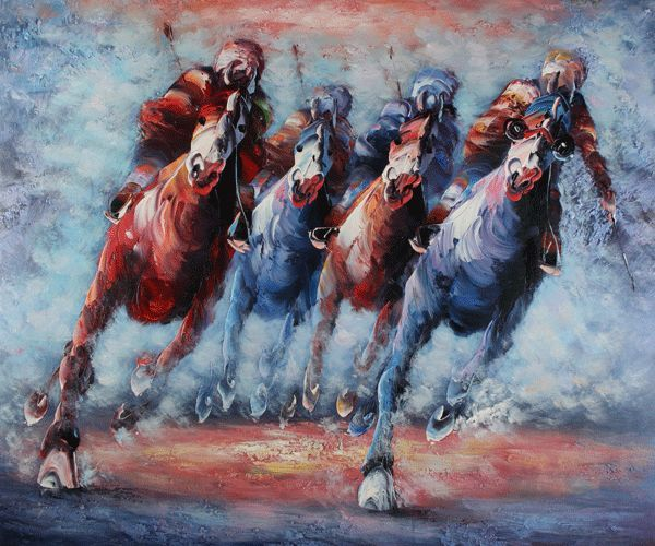 "90"" w x 60 h' $880.99  Realistic The Derby - Oil Painting Reproduction On Canvas On Sale 