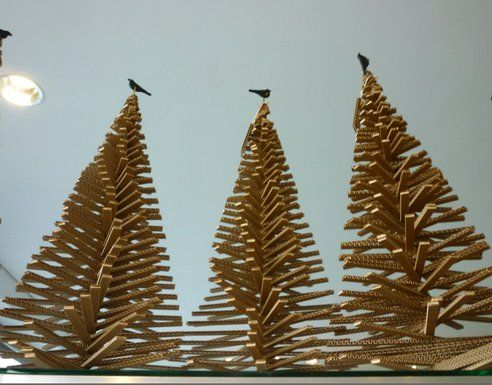 Flat Pack Christmas Tree Made Of Corrugated Cardboard Is A Keeper Cardboard Christmas Tree Christmas Backdrops Alternative Christmas Tree