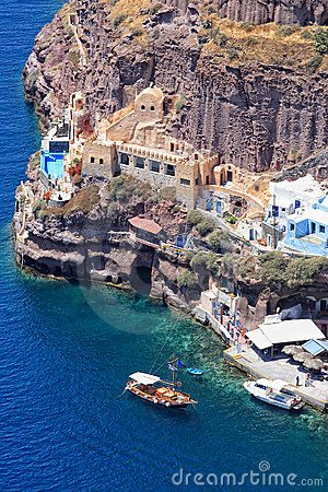 View of the old port of Fira Santorini island Greece