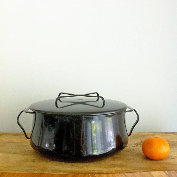 Vintage Dansk Dutch Oven Black Dansk Cooking Pot Mid Century Dansk Large Dansk Kobenstyle 5 Quart Black Dutch Oven Enamel Pot Dansk France Vintage Kitchen Oven Pan Dansk Design