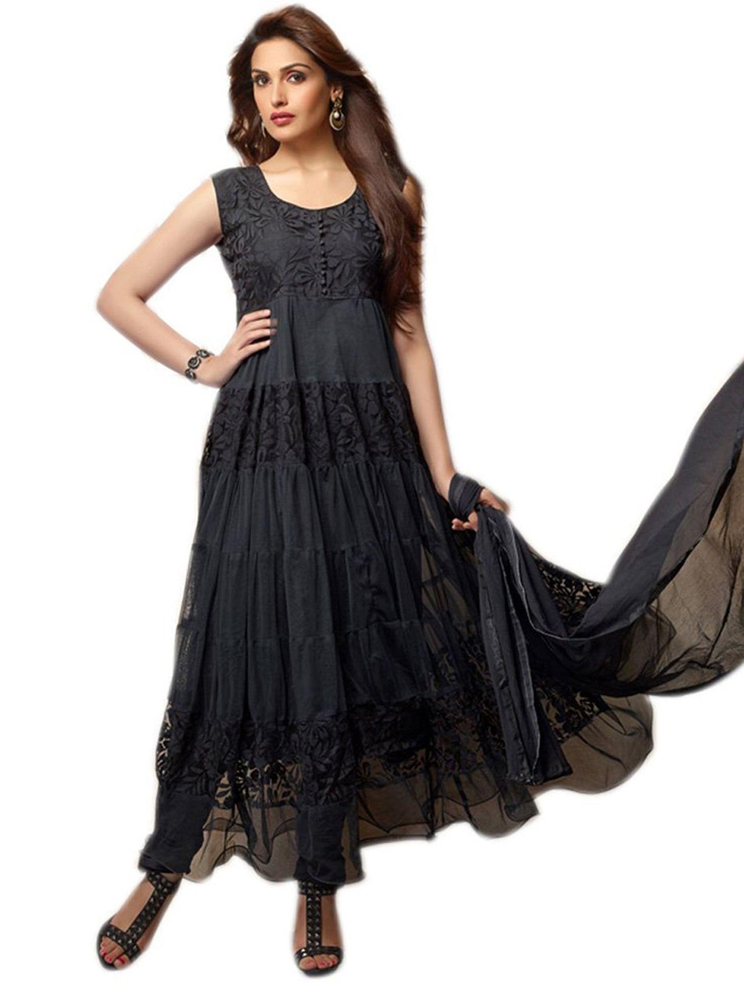 Latest black designer anarkali #salwarsuit with 24% discount