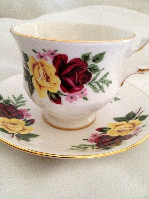 vintage Queen Anne Tea Cup and Saucer  Yellow and by dollyjayne