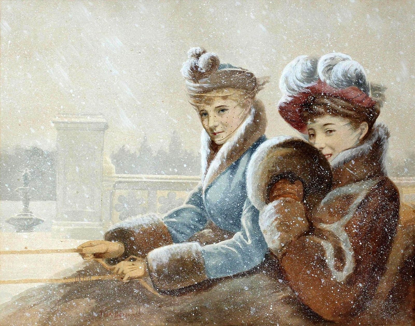 внимание винтажные картинки зима при