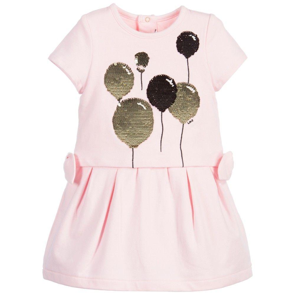 Baby girl pink sequin dress - Baby Girls Pink Gold Sequin Balloon Dress
