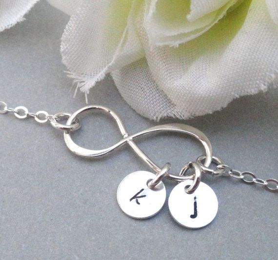 Personalized Infinity Bracelet With Two Initials Sterling Silver Initial Mother S Gift Sisters Friendship Best Friend On Etsy 22 00
