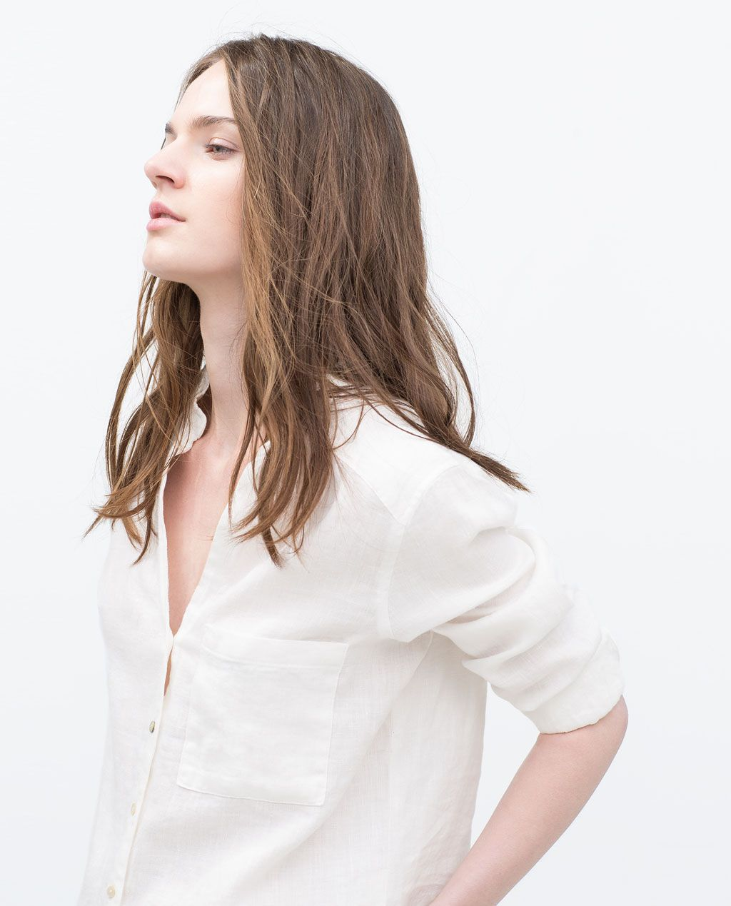 Image 2 of LINEN BLOUSE from Zara