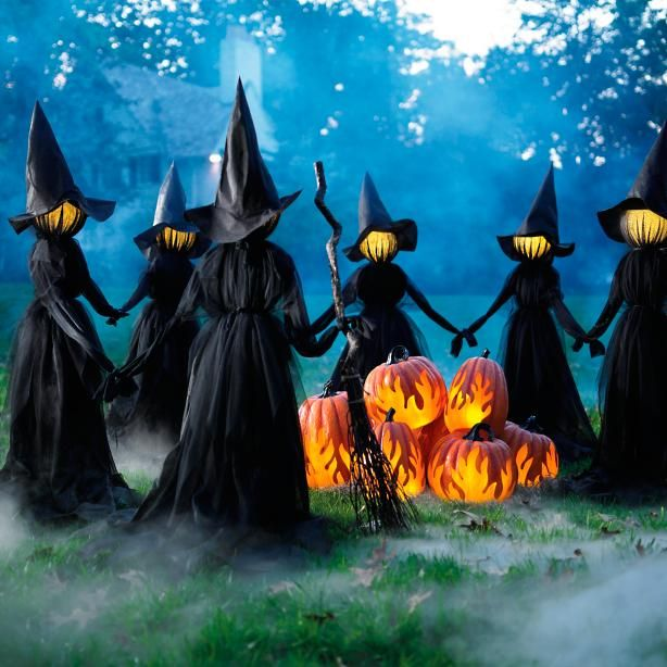 Holding Hands Witches, Set of Three - Grandin Road Halloween