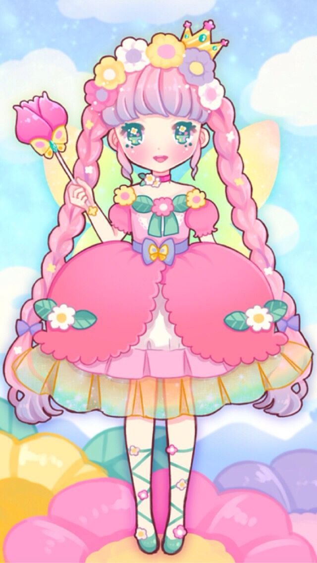 Kawaii colorful girl cocoppa wallpaper random things - Kawaii anime iphone wallpaper ...