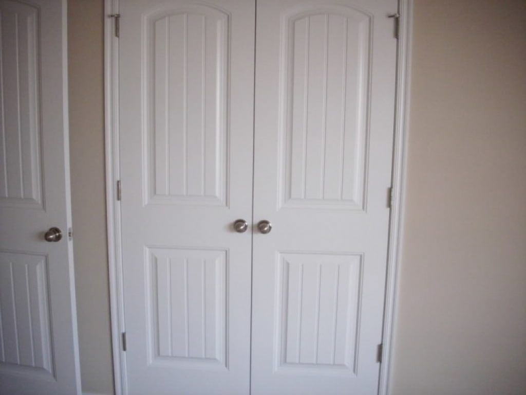 Awesome Interior White Hardwood Double Closet Doors With Outward