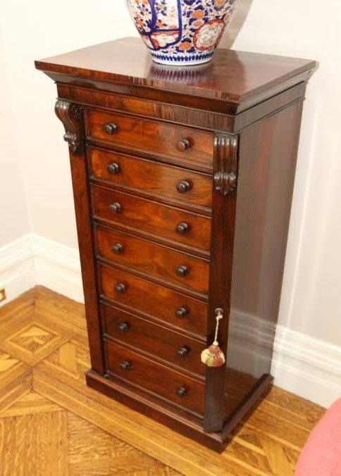 19th Century Seven Drawer Side Lock Cabinet With Dovetail Construction Wood Pulls Chamfered Drawers And Key 23 5 X 15 49 Tall