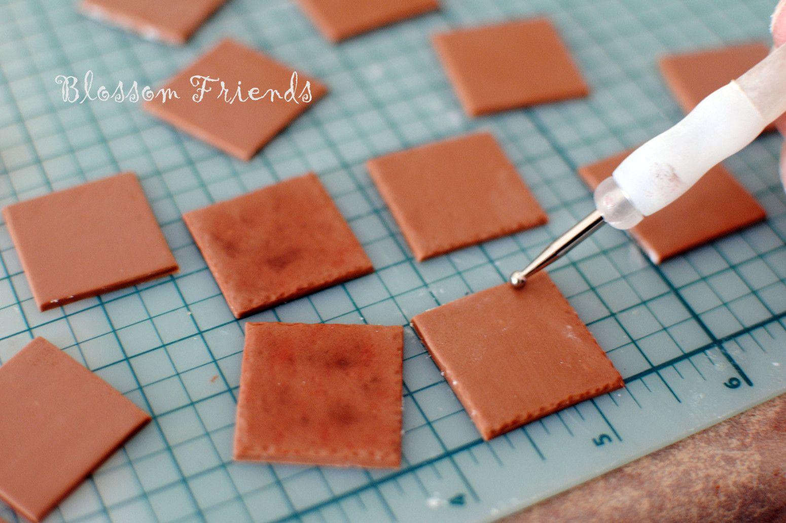 dollhouse floor tiles using clay