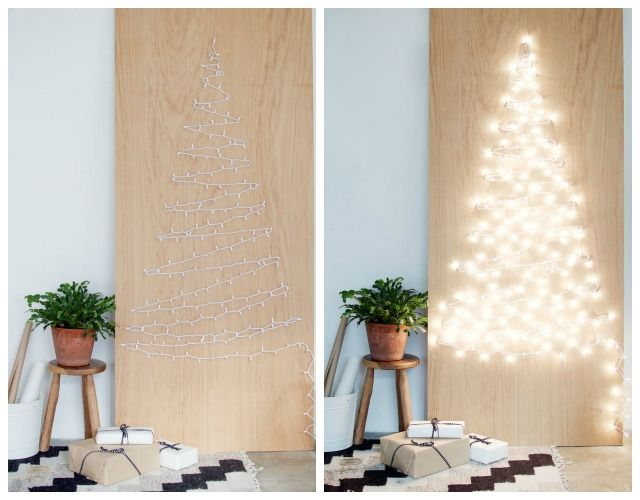 Diy rbol de navidad con luces en la pared manualidades rbol de navidad con luces luces - Luces arbol de navidad ...