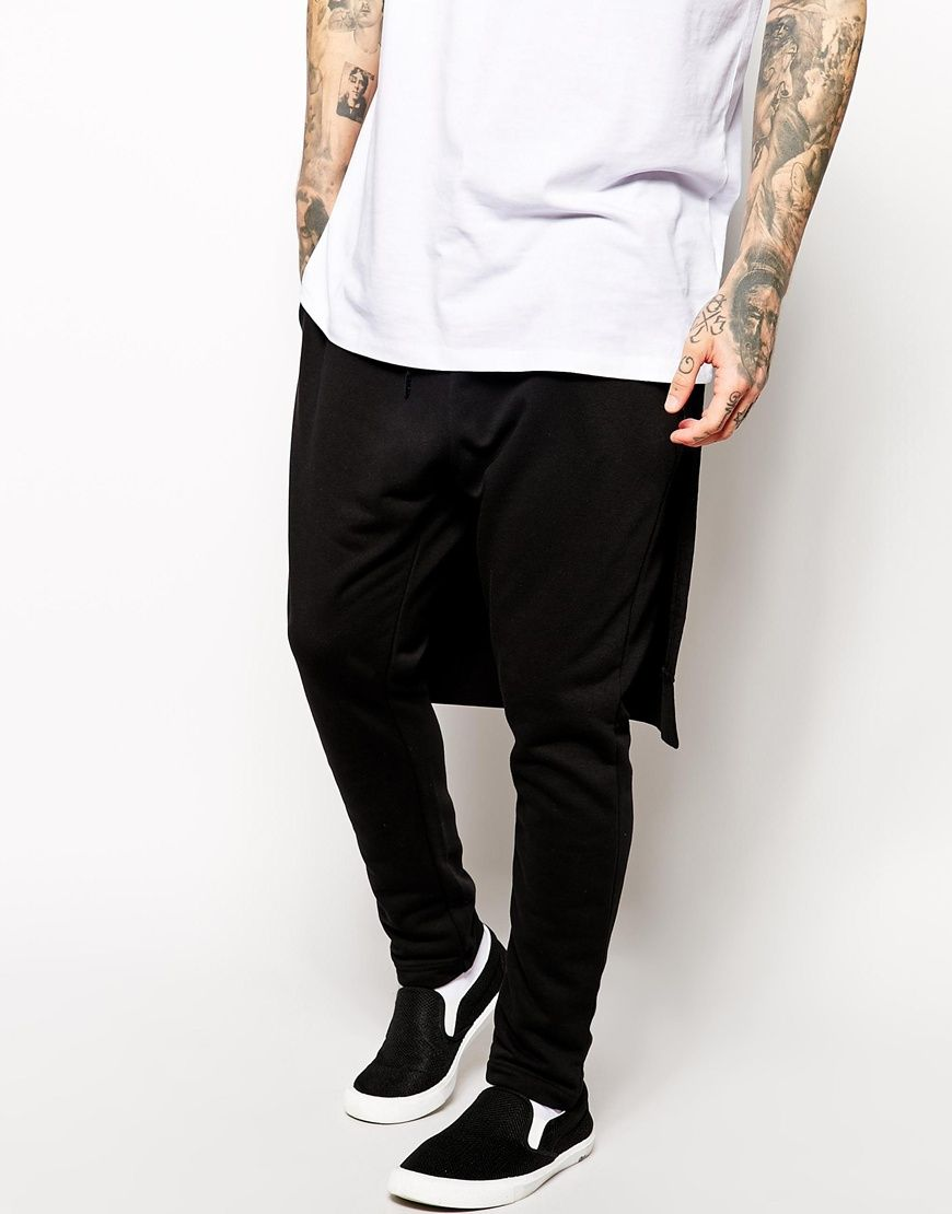 AQAQ Skinny Joggers With Layering Effect | Skinny joggers