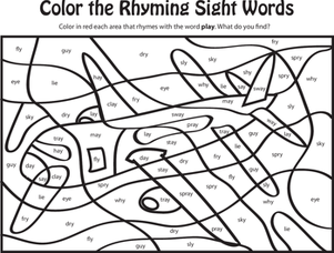 Color the Rhyming Sight Words III | Education | First grade ...