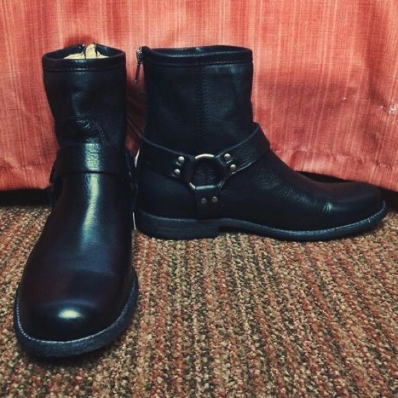"""Brand New Frye Boots with Tags Catch this pair of brand new black Frye boots. This style """"Philip Harness"""" is so cute but unfortunately too small for me. I'm true 7.5 and they felt a little snug with a thin sock. Frye Shoes Ankle Boots & Booties"""