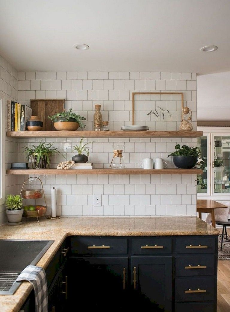 37+ Inspiring DIY Small Kitchen Open Shelves Decor Ideas ...