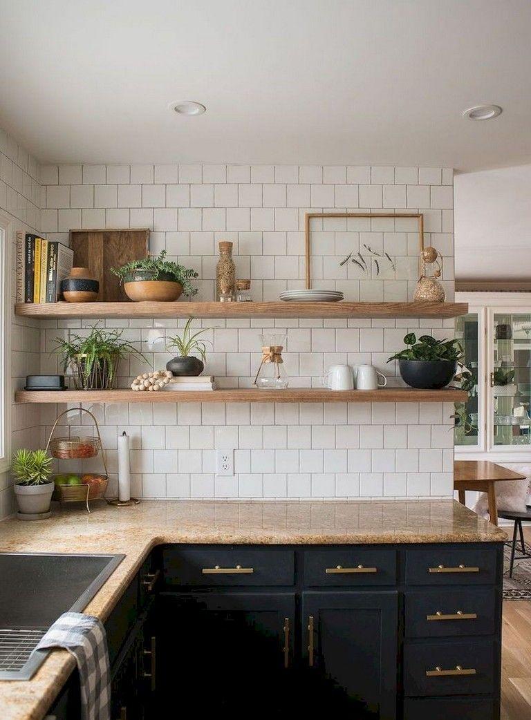 37 inspiring diy small kitchen open shelves decor ideas budget kitchen remodel rustic on kitchen decor open shelves id=87499