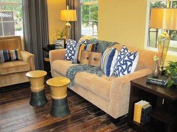 Yellow And Beige Living Room Design Ideas, Pictures, Remodel and Decor  so can you have grey curtains with beige couches and yellow walls