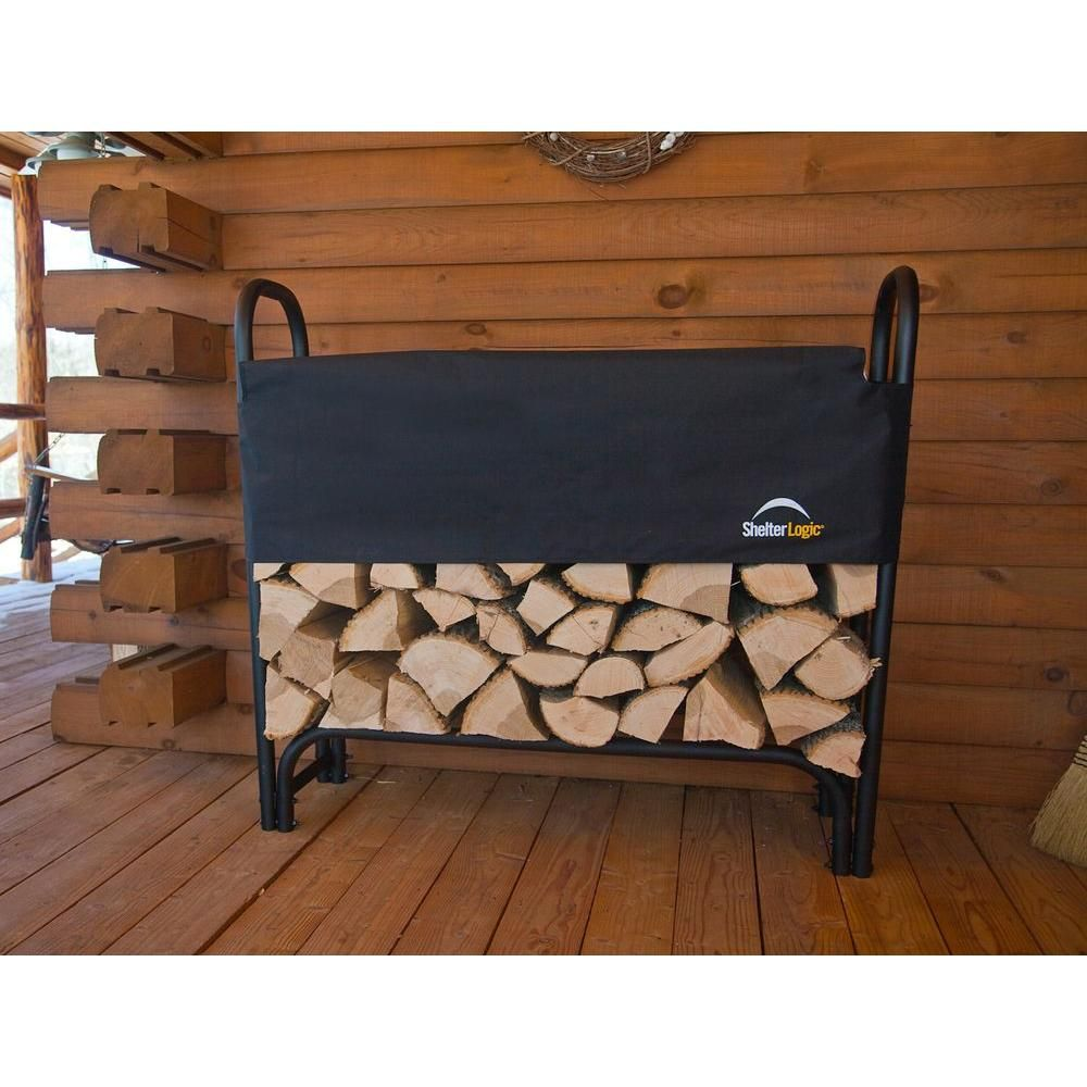 Shelterlogic 4 Ft H X 4 Ft D X 1 Ft W Firewood Rack With Black