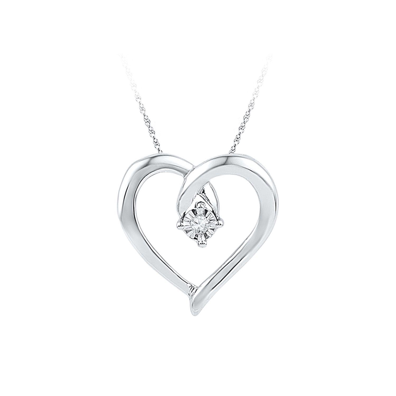 Fine 10k White Polished Gold Open Love Heart Pendant Necklace