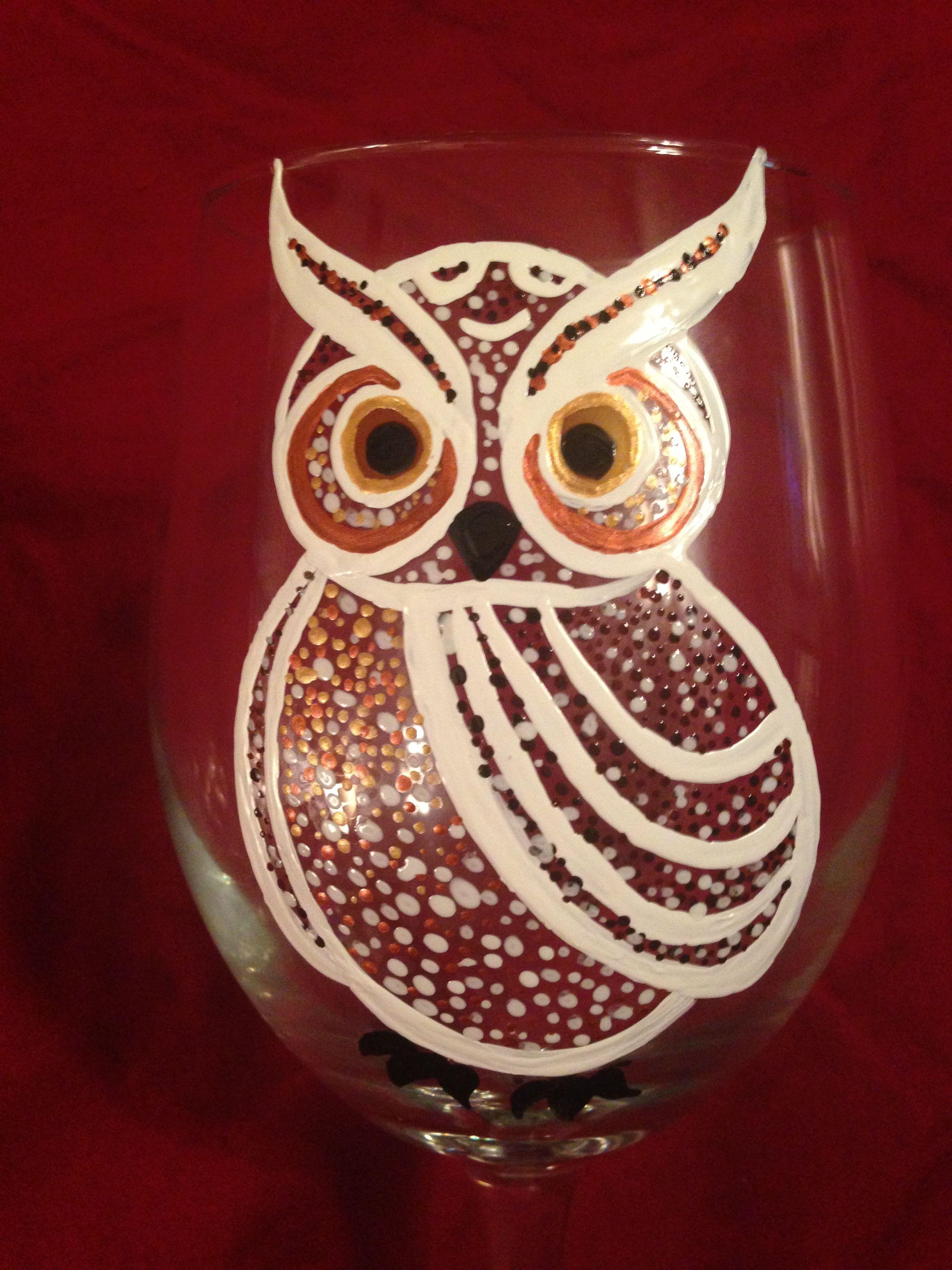 Owl Wine Glass From Kim Owens Glass Painting Wine Glass Crafts Wine Glass Art Painted Wine Glass