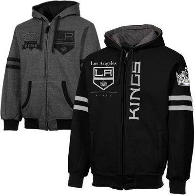 La Kings Dual Edge Reversible Full Zip Hoodie Black Charcoal La Kings Hockey Kings Hockey Los Angeles Kings