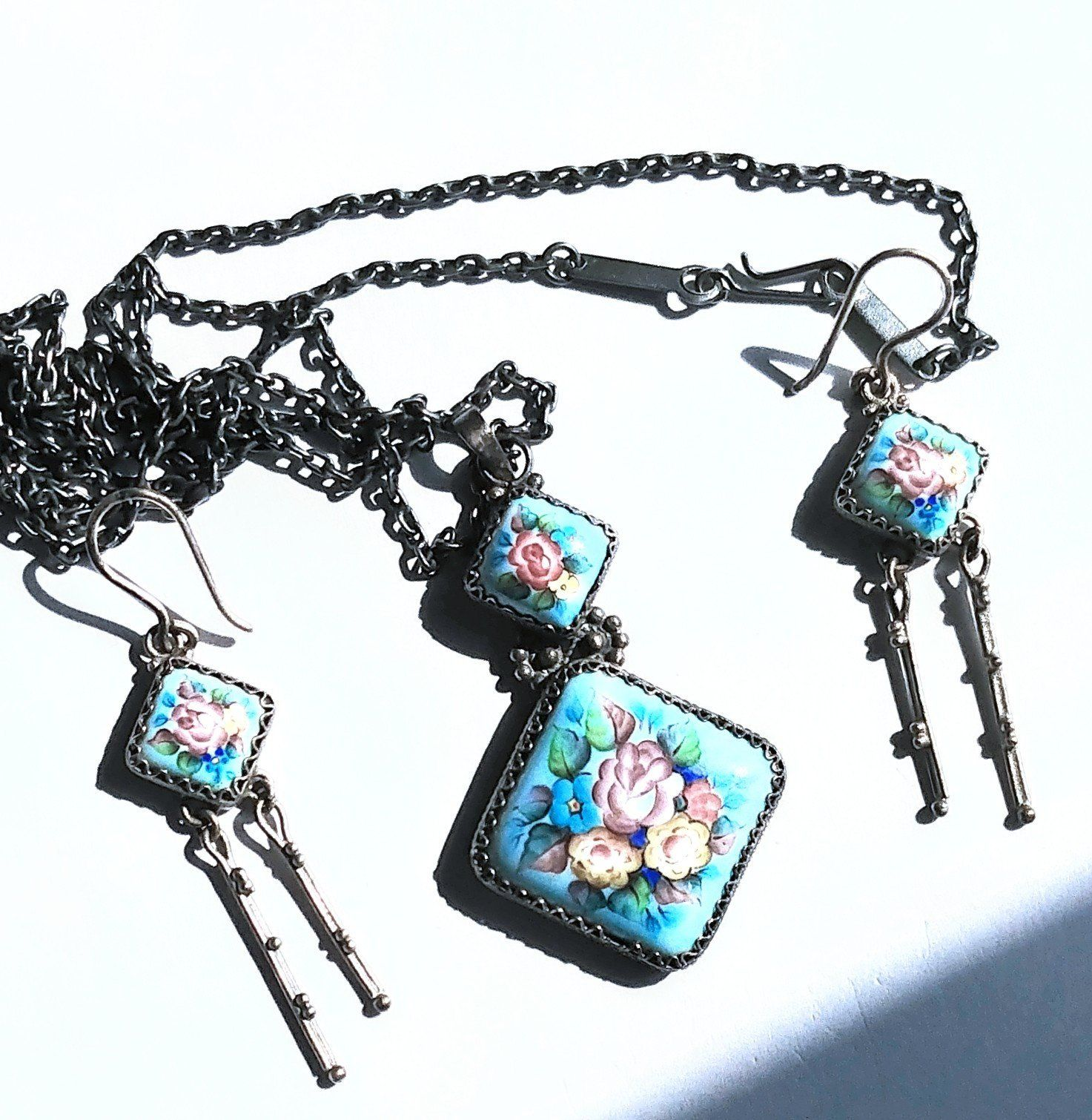 8745bef69 NEW to my #etsy shop: Russian Jewelry Set Pendant Necklace and Earrings  Handpainted Flowers